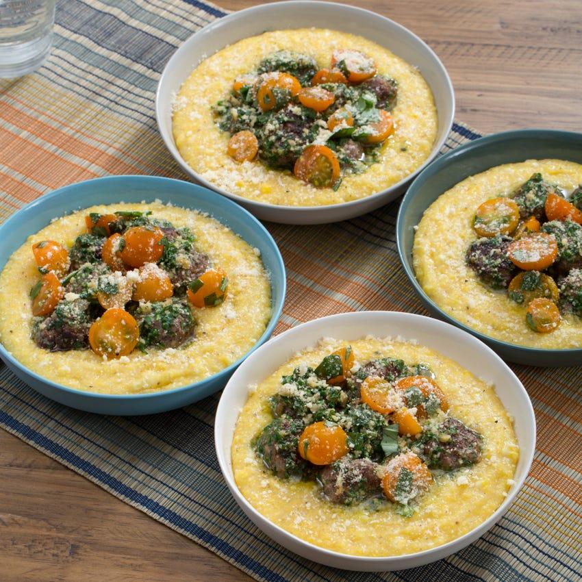 Pesto Meatballs & Fresh Corn Polenta with Marinated Sun Gold Tomatoes & Basil