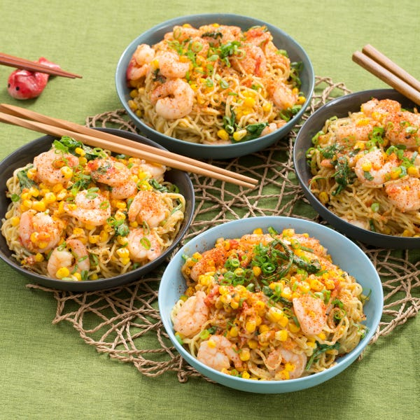 Shrimp & Summer Vegetable Mazemen with Fresh Ramen Noodles & Miso-Soy Sauce