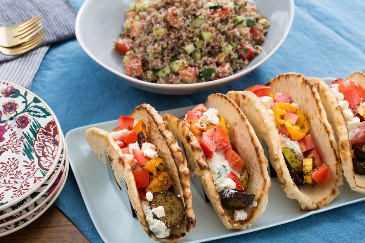 Za'atar-Spiced Eggplant and Squash Pitas