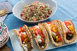 Za'atar-Spiced Eggplant & Squash Pitas with Cucumber-Yogurt Sauce & Tabbouleh