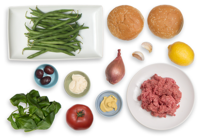 Tomato-Basil Burgers with Olive Aioli & Green Bean-Tomato Salad ingredients