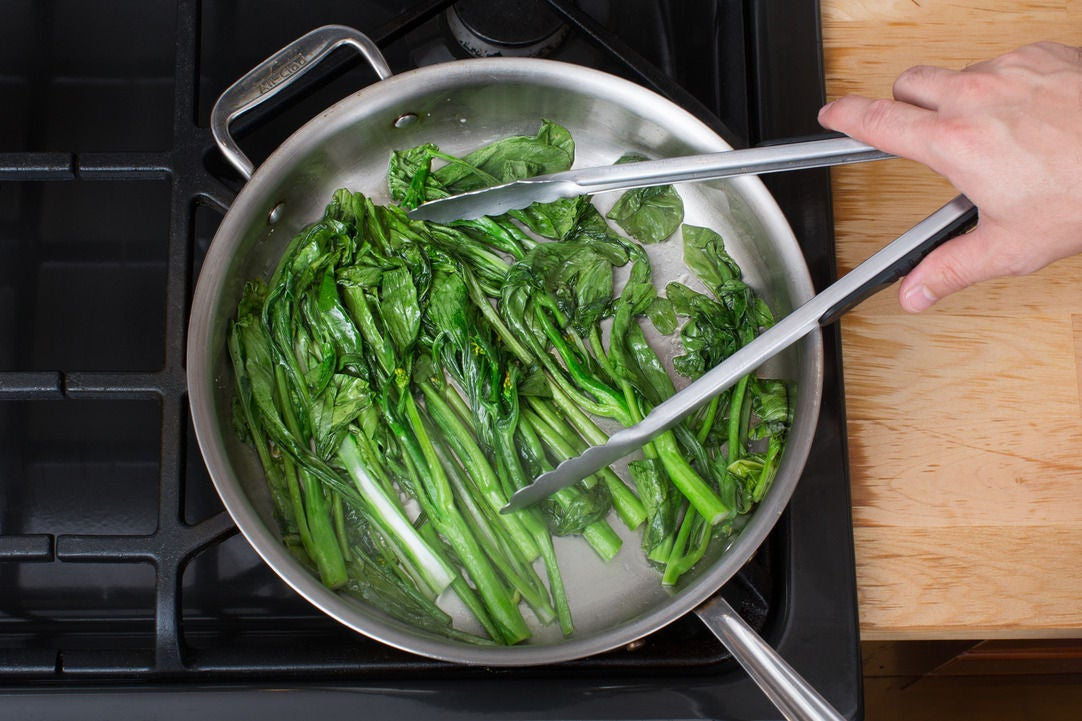 Cook the choy sum: