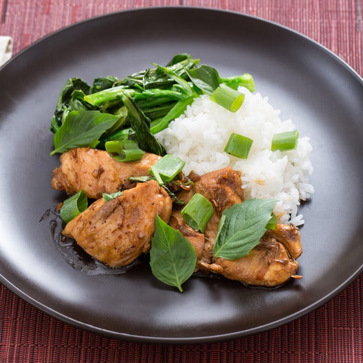Taiwanese Three Cup Chicken with Choy Sum & Jasmine Rice