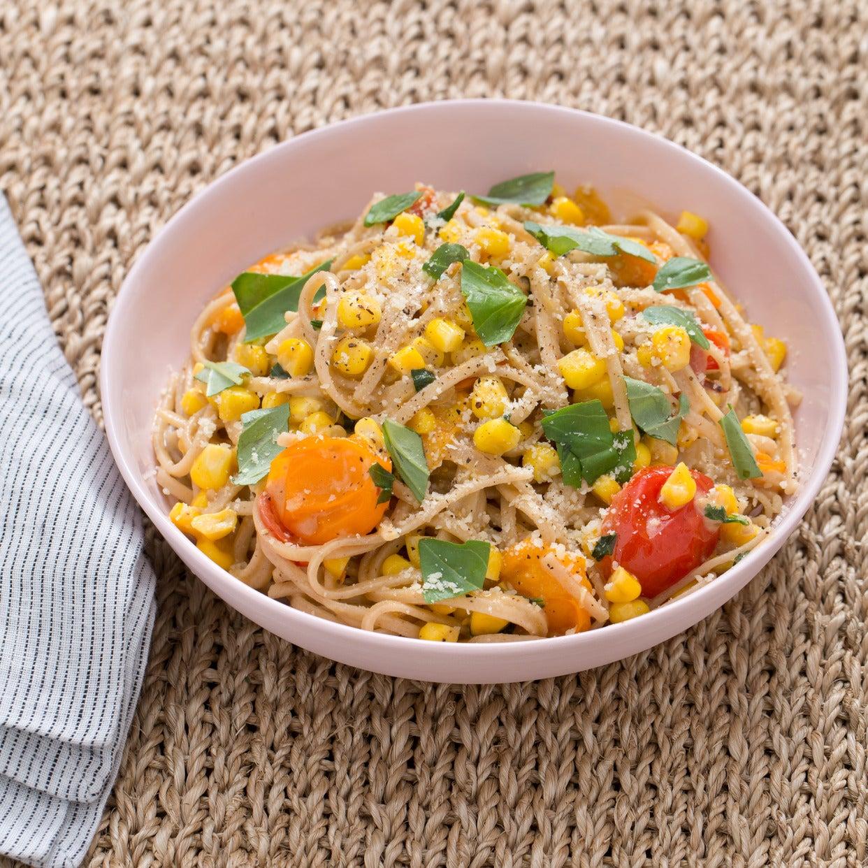Whole Grain Spaghetti with Corn, Cherry Tomatoes & Mascarpone Cheese