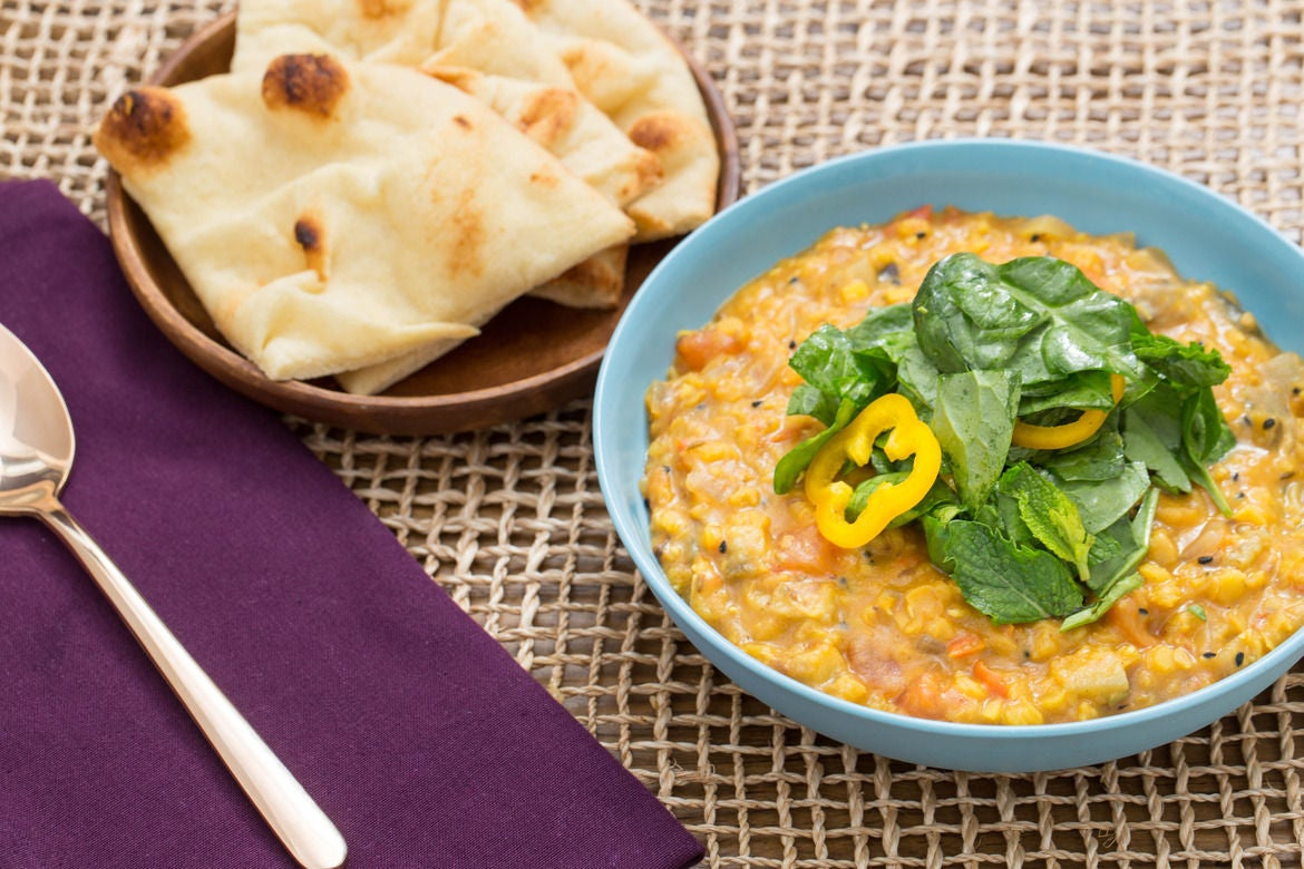Spiced Lentil Stew with Summer Vegetables and Toasted Naan