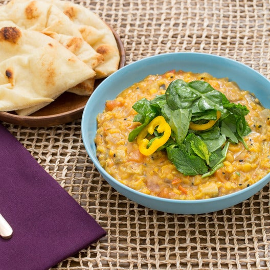 Spiced Lentil Stew with Summer Vegetables & Toasted Naan