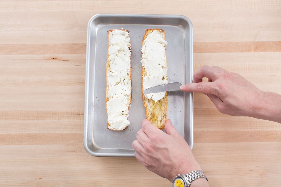 Make the goat cheese toasts: