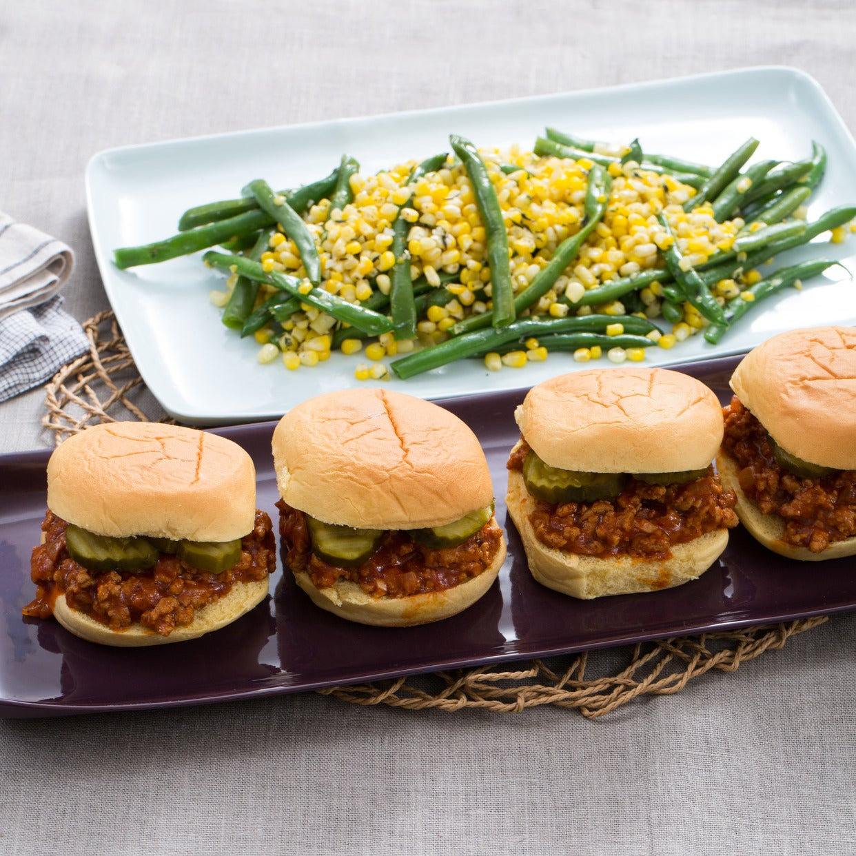 Turkey Sloppy Joes with Sweet Corn & Summer Bean Sauté