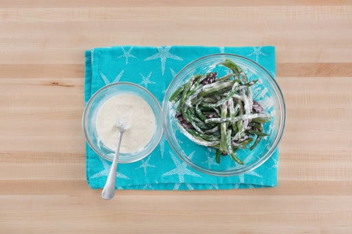 Make the aioli & dress the beans: