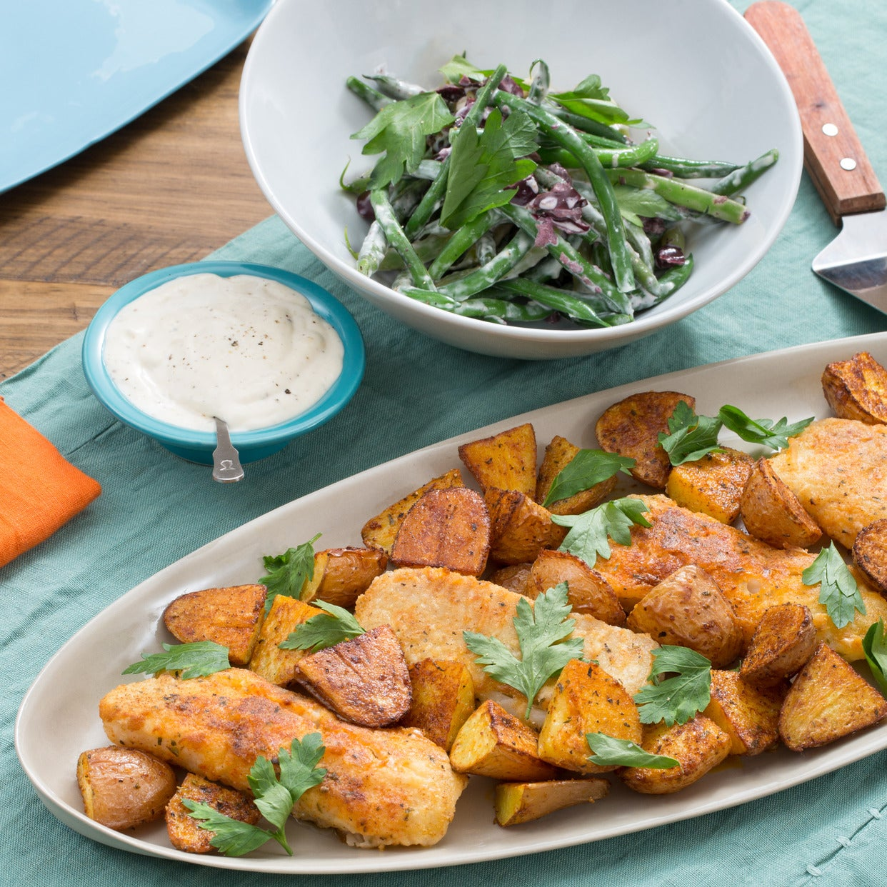 Crispy Catfish & Roasted Potatoes with Summer Bean Salad & Garlic-Lemon Aioli