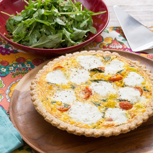 Summer Vegetable Quiche with Ricotta, Cherry Tomatoes & Arugula Salad