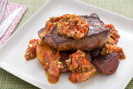 Seared Steaks with Romesco Sauce & Roasted Potatoes