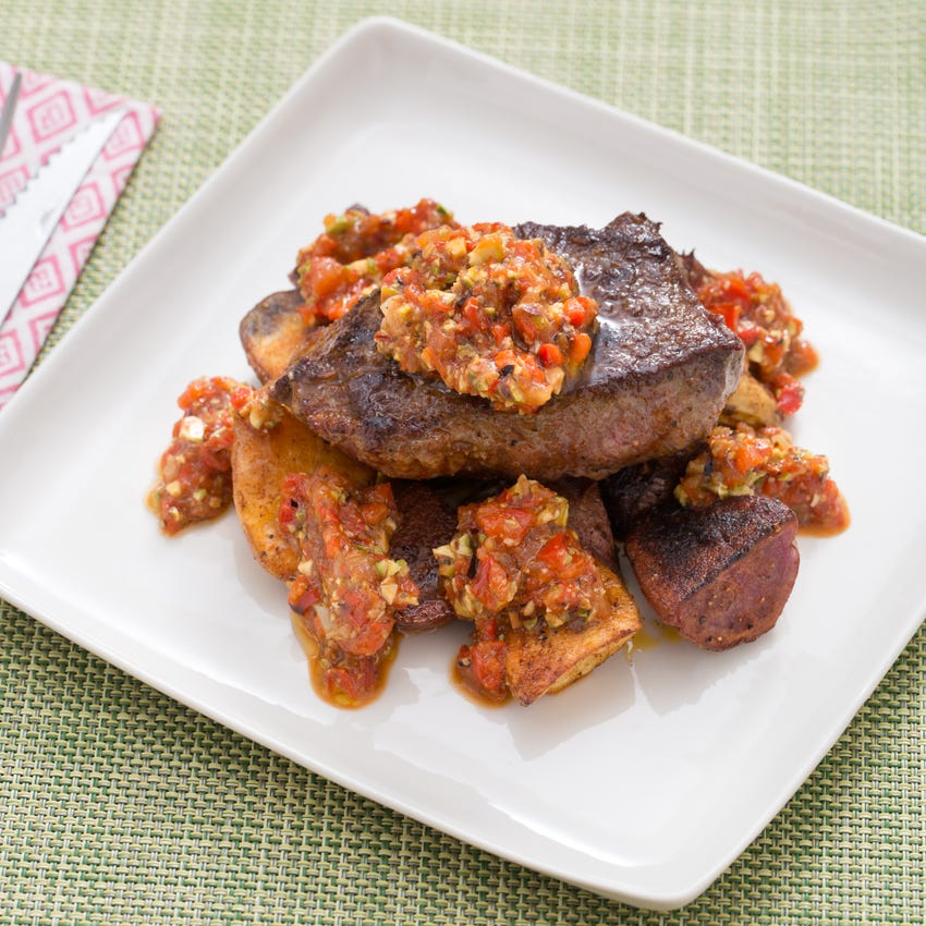 Seared Steaks with Romesco Sauce & Roasted Potatoes