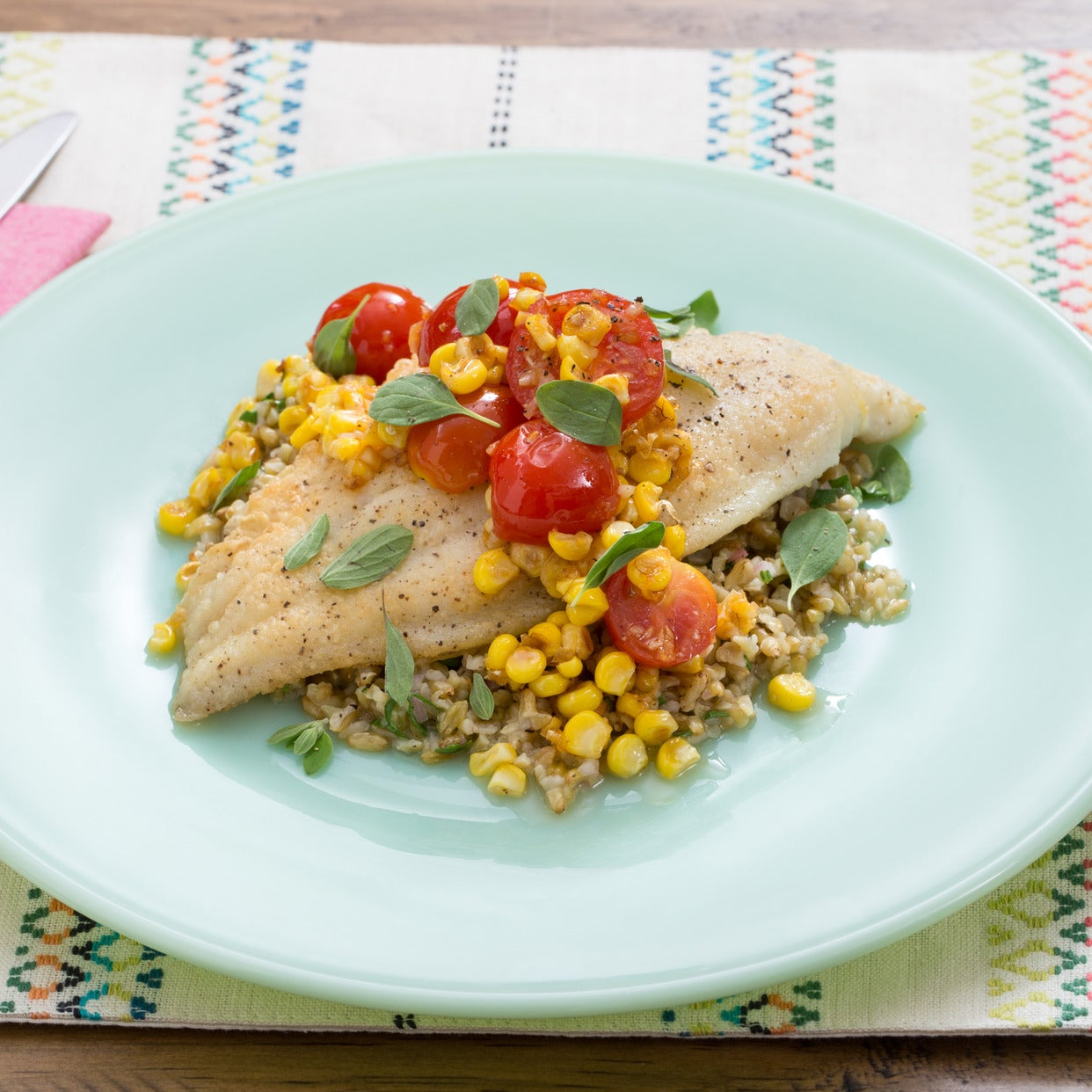 Crispy Catfish & Freekeh with Corn-Cherry Tomato Sauté & Marjoram