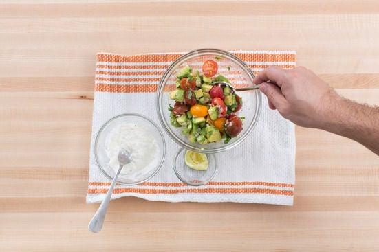 Make the lime crema & salsa fresca:
