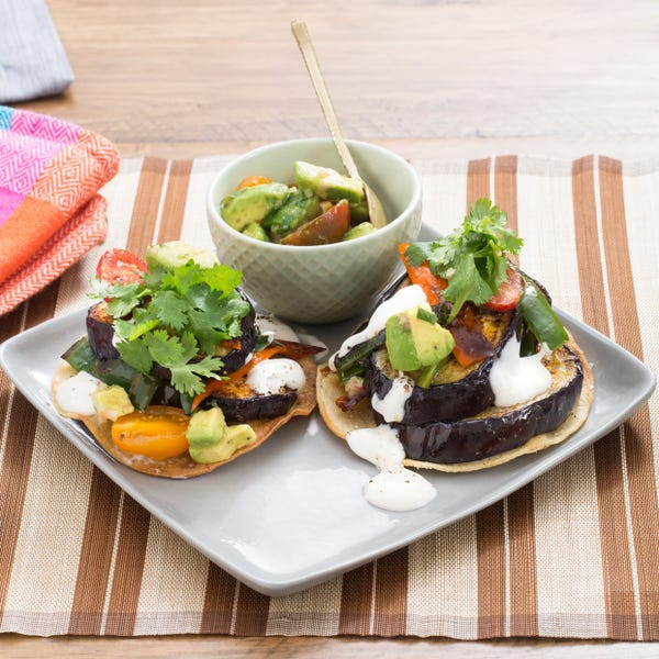 Summer Eggplant & Pepper Tostadas with Lime Crema & Avocado-Tomato Salsa Fresca