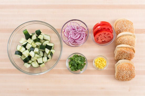 Recipe: Hoisin Pork Burgers with Marinated Cucumber & Red Onion Salad ...