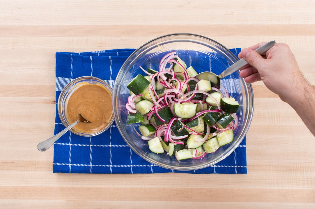 Make the hoisin mayo & salad: