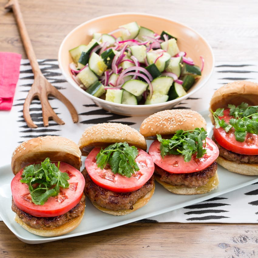 Hoisin Pork Burgers with Marinated Cucumber & Red Onion Salad