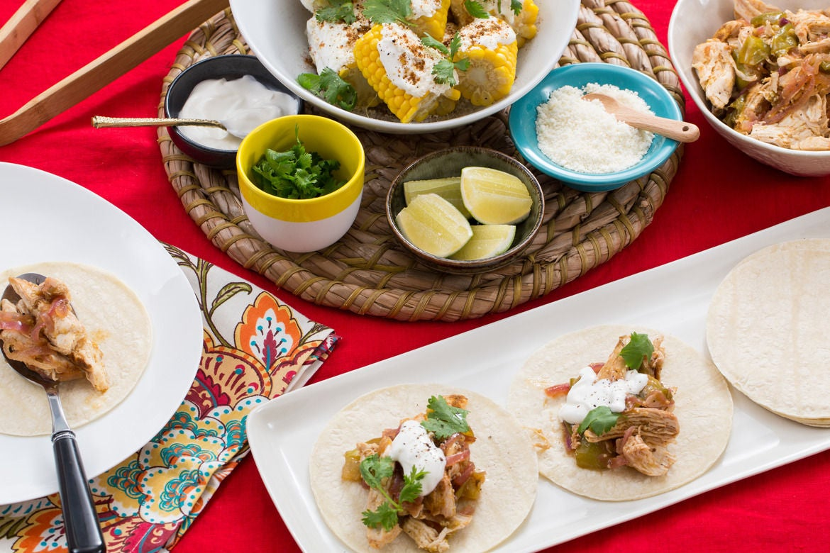Chicken Tinga Tacos with Tomatillo Salsa & Mexican-Style Corn on the Cob