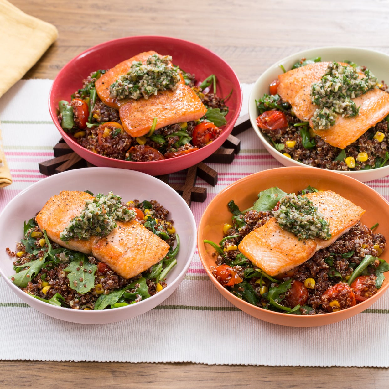 Seared Salmon & Salsa Verde with Summer Vegetable & Quinoa Salad