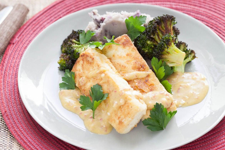 Mustard Tofu with Purple Smashed Potatoes and Broccoli