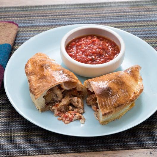 Mushroom & Ricotta Calzones with Thyme & Spicy Marinara Sauce