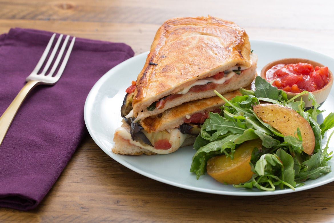 Eggplant & Mozzarella Paninis with Caramelized Stone Fruit & Arugula Salad