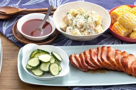 BBQ Roast Pork with Corn on the Cob, Potato Salad & Quick Pickles