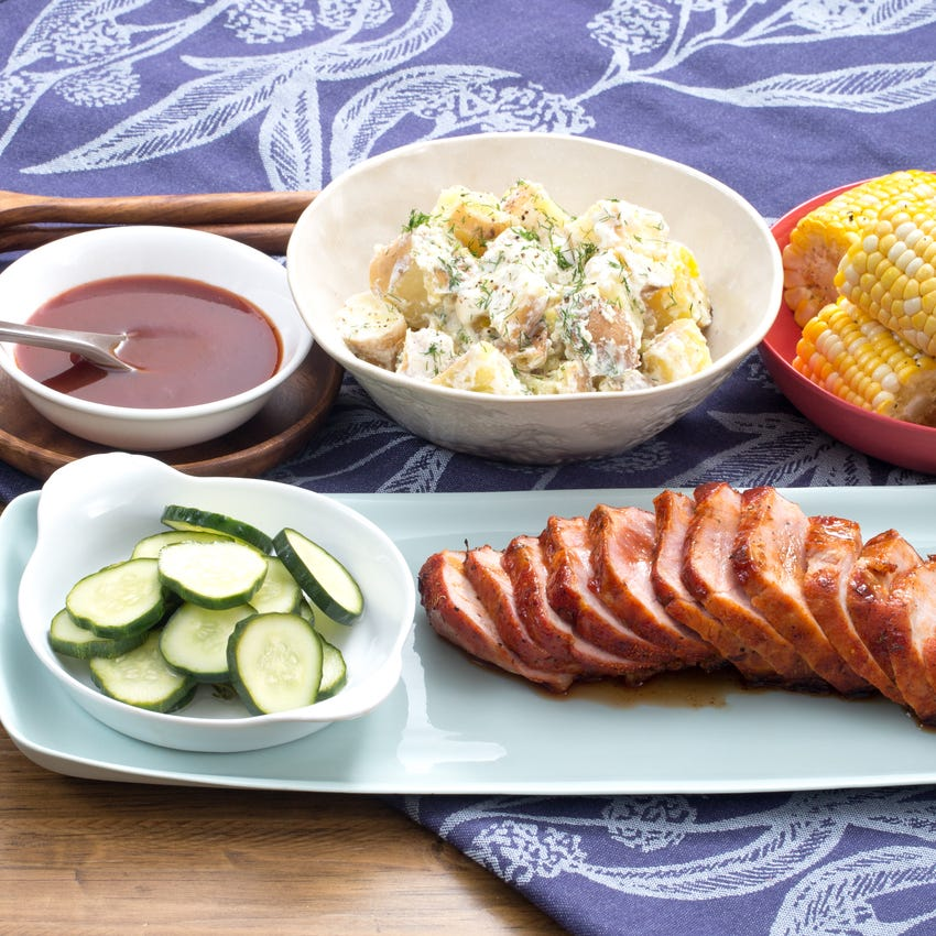 BBQ Roast Pork with Corn on the Cob, Potato Salad & Quick Pickles