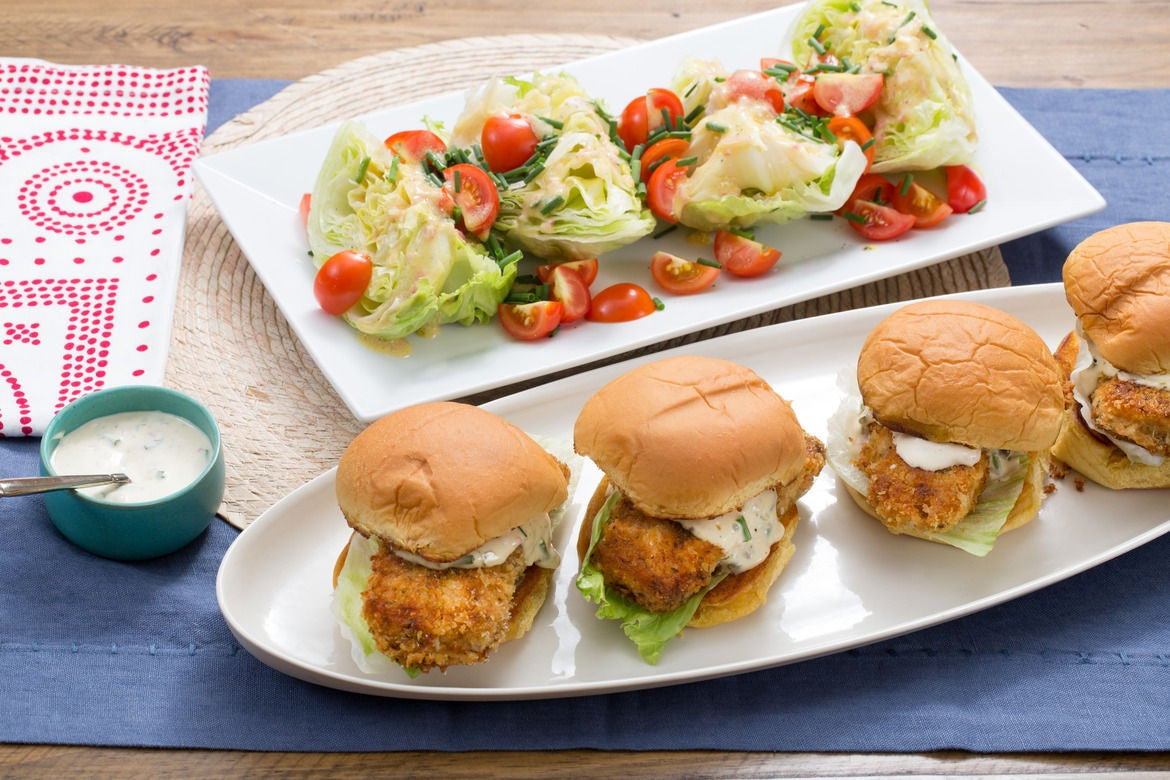 Crispy Cod Sandwiches with Tartar Sauce & Iceberg Wedge Salad
