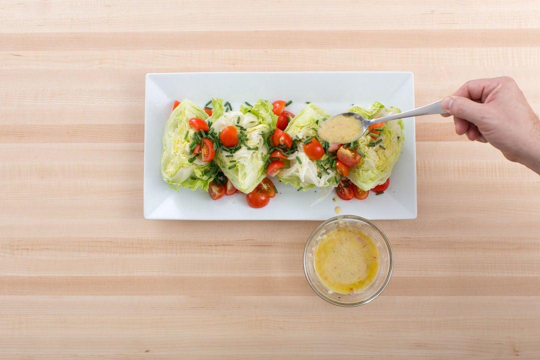 Make the vinaigrette & salad: