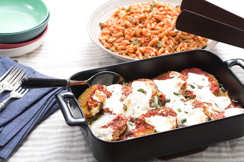 Eggplant Parmesan with Gomiti Pasta & Fresh Oregano
