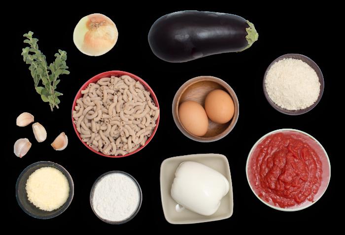 Eggplant Parmesan with Gomiti Pasta & Fresh Oregano ingredients