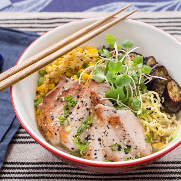 Pork Ramen with Fresh Ramen Noodles & Summer Vegetables
