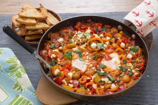Summer Pepper Shakshuka with Baked Eggs & Za'atar-Spiced Pitas