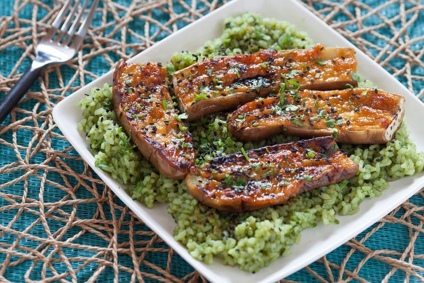 Miso-Glazed Eggplant with Green Tea Rice