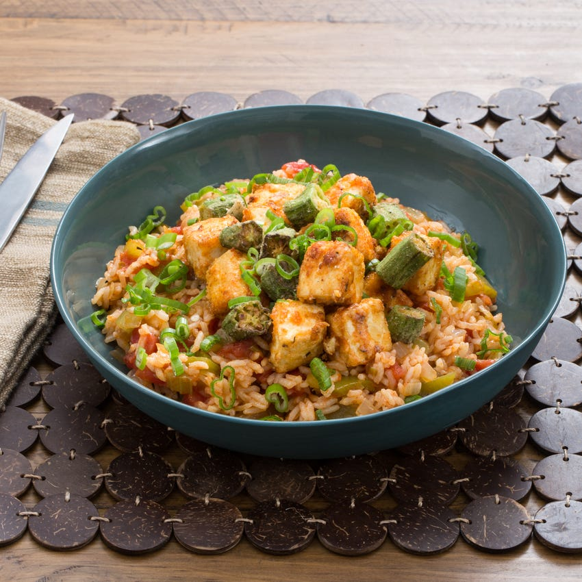 Cajun Tofu & Dirty Rice with Crispy Okra & Bell Pepper