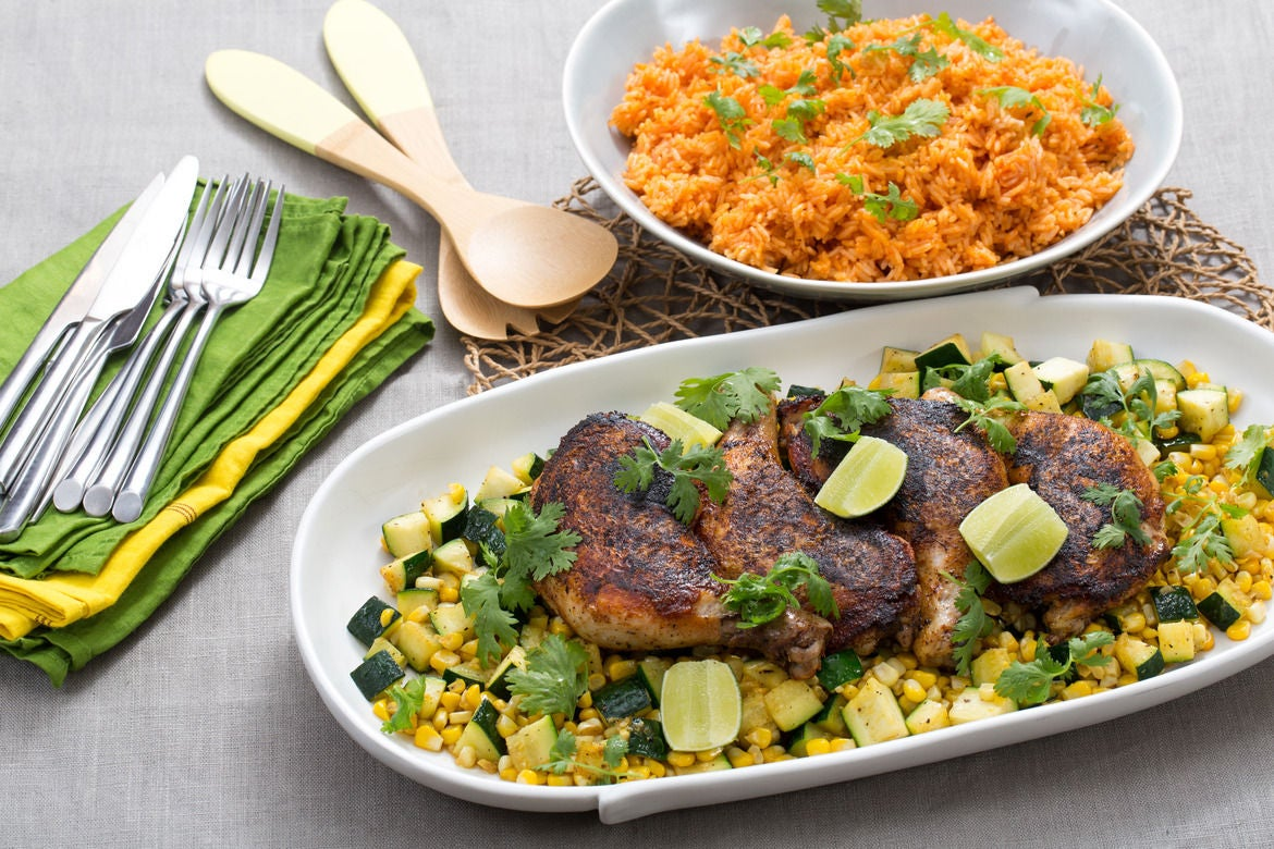 "Blackened Chicken Under a ""Brick"" with Zucchini-Corn Sauté & Tomato Rice"
