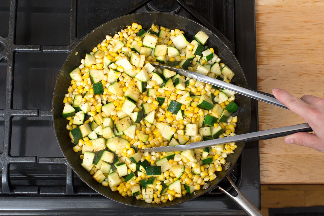 Cook the zucchini & corn: