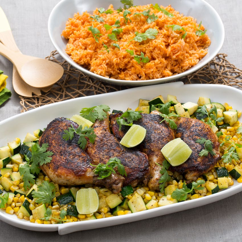 "Blackened Chicken Under a ""Brick"" with Zucchini-Corn Sauté & Tomato Rice"
