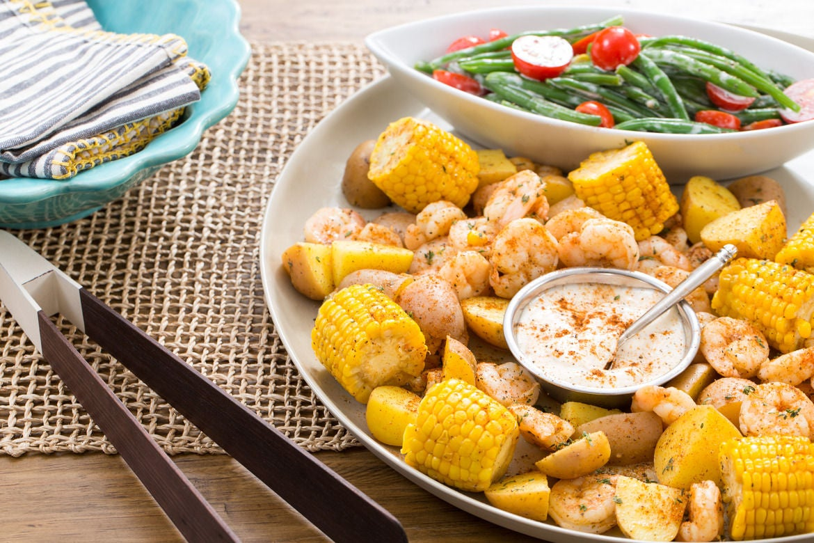 "Southern-Style Shrimp ""Boil"" with Corn, Potatoes & Green Bean Salad"