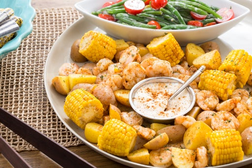 """Southern-Style Shrimp """"Boil"""" with Corn, Potatoes & Green Bean Salad"""