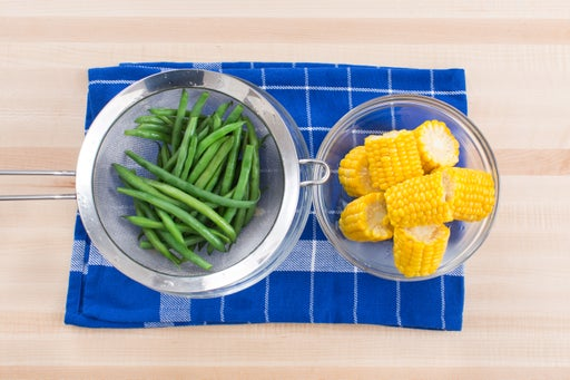Cook the corn & green beans: