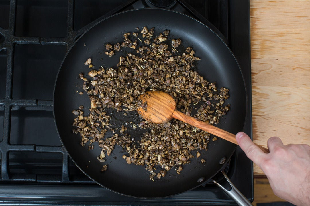 Cook the aromatics & mushrooms:
