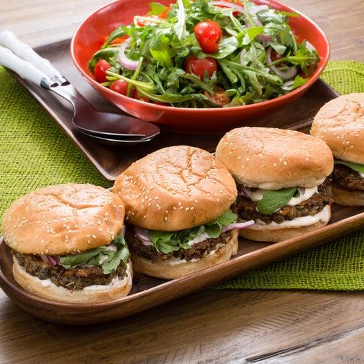 Lentil & Mushroom Veggie Burgers with Arugula Salad & Aioli