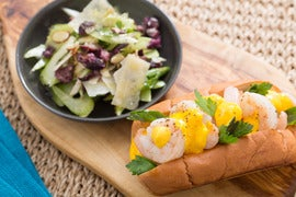 Sautéed Shrimp Sandwiches with Saffron Aioli & Celery-Parmesan Salad