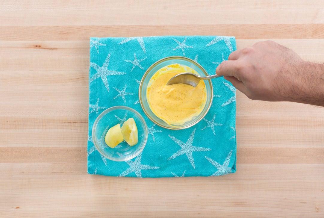 Make the saffron aioli: