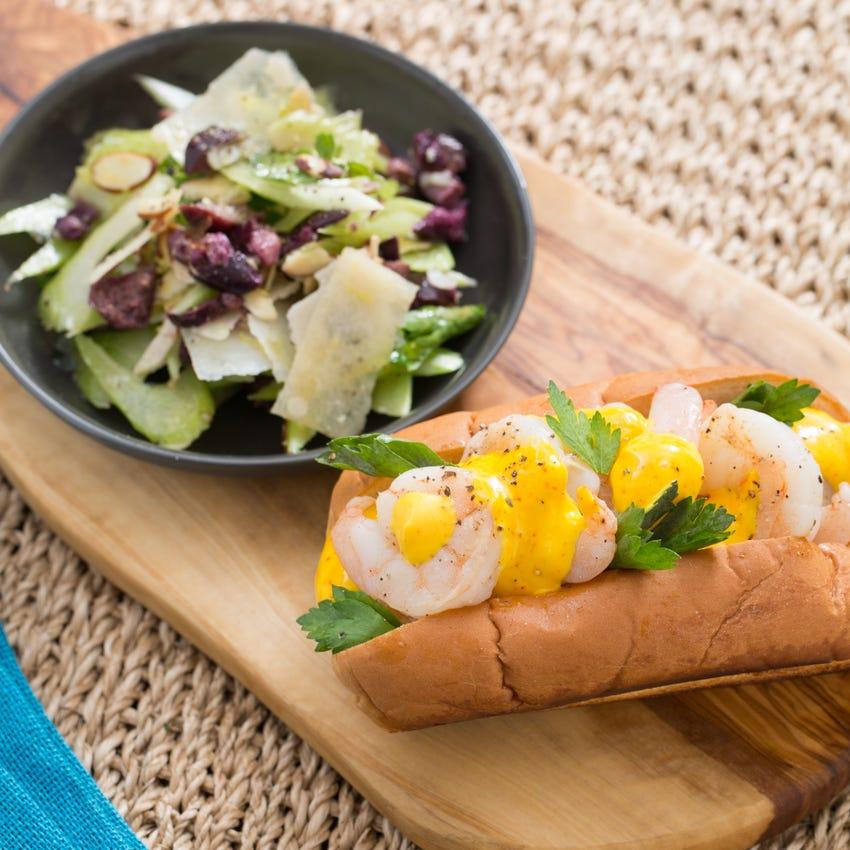 Sautéed Shrimp Sandwiches with Saffron Aioli & Celery-Parmesan Salad