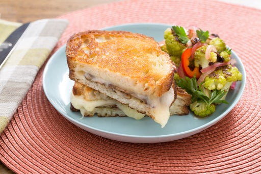 Mushroom & Fontina Grilled Cheese Sandwiches with Sweet Pepper & Roasted Cauliflower Salad